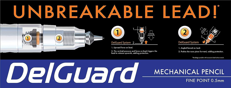 Standard #2 HB Lead Black Barrel Zebra Pen DelGuard Mechanical Pencil with Bonus Lead Refill 32-Pack Fine Point 0.5mm Point Size