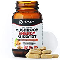 The Herban Shaman Mushroom Supplement Energy Support   Organic Mushroom Herbal Capsules with Reishi, Ginkgo, Rhodiola, Maca, Chinese Ginseng, CoQ10 + More (60 Capsules)