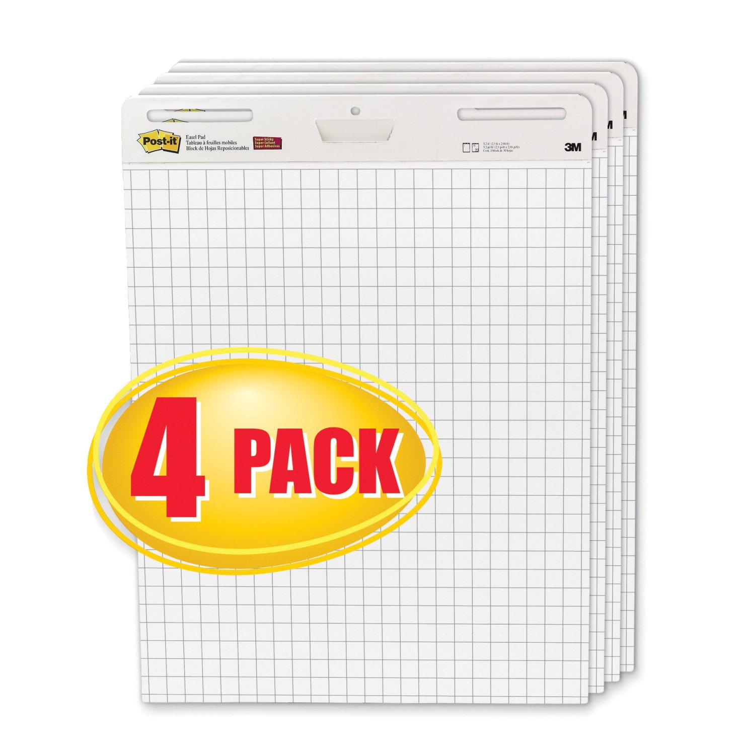 Post-It Easel Pads 560-VAD-4PK Self-Stick Easel Pads, Quad Rule, 25 x 30, White, 4 30-Sheet Pads-Carton by Post-it