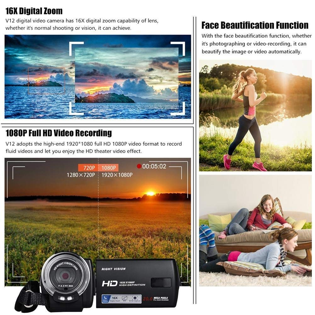 ZAQXSW Mini Digital Camera, HD Digital Camera Kids Childrens Point and Shoot Rechargeable Digital CamerasSports,Travel,Holiday,Birthday Present by ZAQXSW (Image #2)