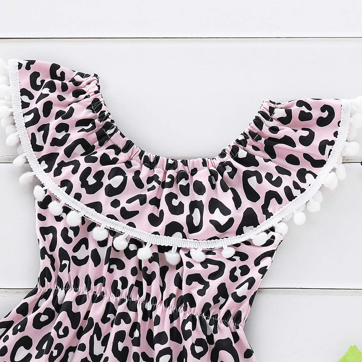 Chennie Baby Girls Estampado de Leopardo con Volantes de Hombro Mameluco Mono Diadema de Bowknot