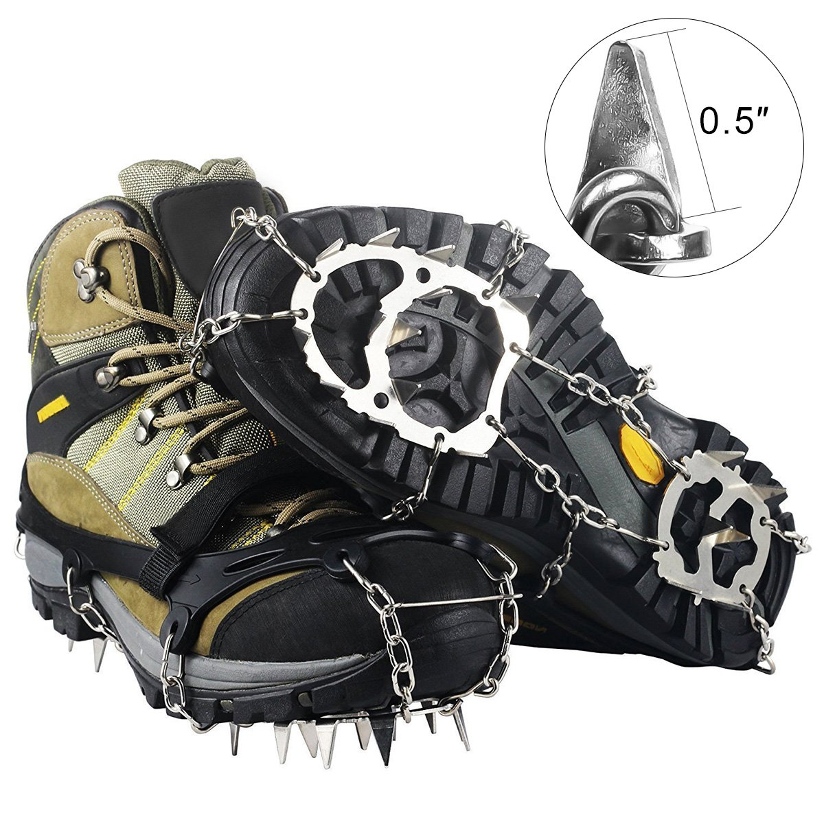 SHANLU Snow Grips, Traction Cleats/Ice Grips for Shoes with 18 Spikes, Anti-Slip Stainless Steel Crampons for Mountaineering & Ice Climbing/Camping & Hiking (XL)
