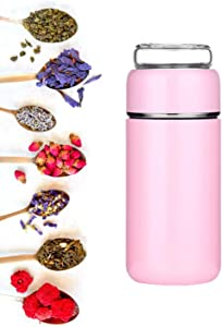 Tea Infuser Water Bottle with Double Walled Glass, Vacuum Insulated Stainless Steel Loose Leaf Filter Flask, Thermos Portable Mug Tumbler with Strainer