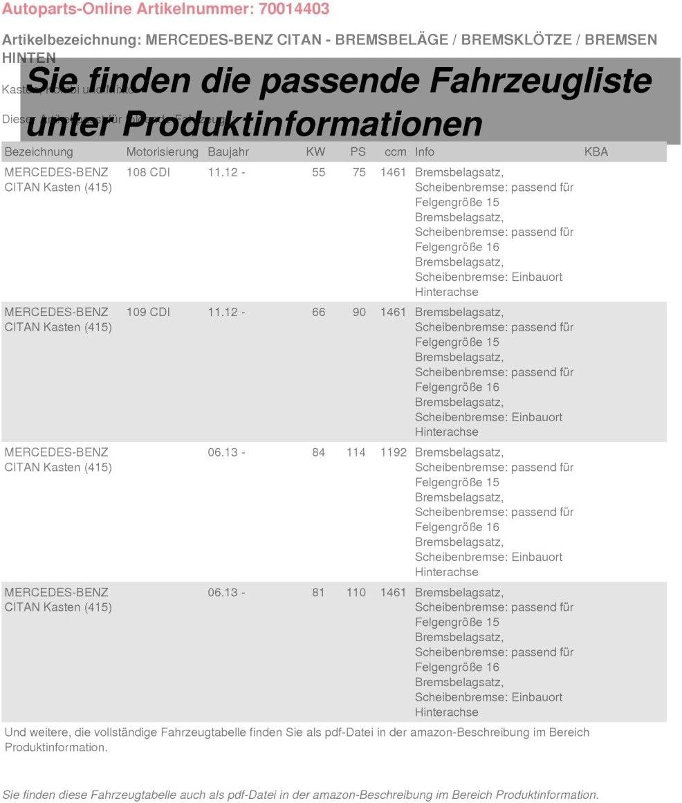 Bremsbel/äge Bremskl/ötze Bremsen f/ür hinten//die Hinterachse