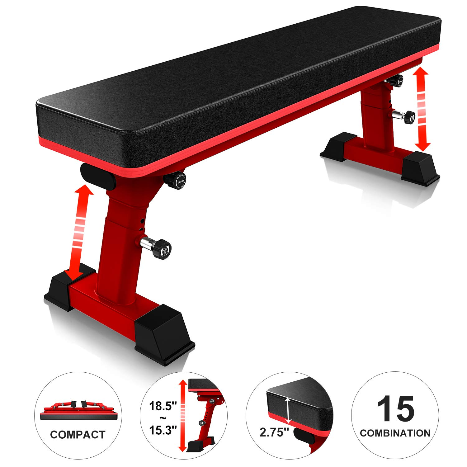 YouTen 800 LBS Adjustable Bench for Body Workout Fitness, 5Positions Flat Bench, Abs Exercise Weight Bench with Steel Frame Red by YouTen
