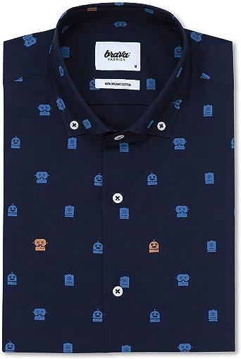 Brava Fabrics - Camisa de Hombre - Camisa para Hombre - Camisa de Hombre - 100% Algodón - Modelo Toy Robots Navy: Amazon.es: Ropa y accesorios