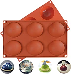 6-Hole Round Silicone Mold for Chocolate, Cake, Jelly, Pudding, Dome Mousse, Round, Handmade soap 2 Packets (Brick red)