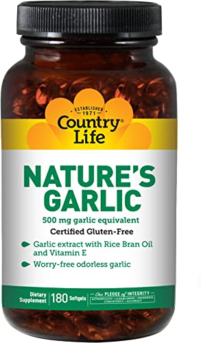 Country Life – Nature s Garlic, with Rice Bran Oil and Vitamin E, 500 mg – 180 Softgels