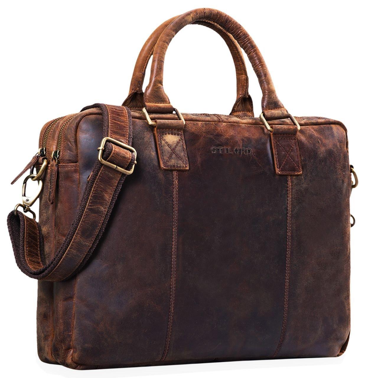 STILORD 'Zacharias' Vintage Businesstasche Leder Aktentasche groß XL 15,6 Zoll Laptoptasche Schultertasche Umhängetasche Echtleder, Farbe:girona - braun