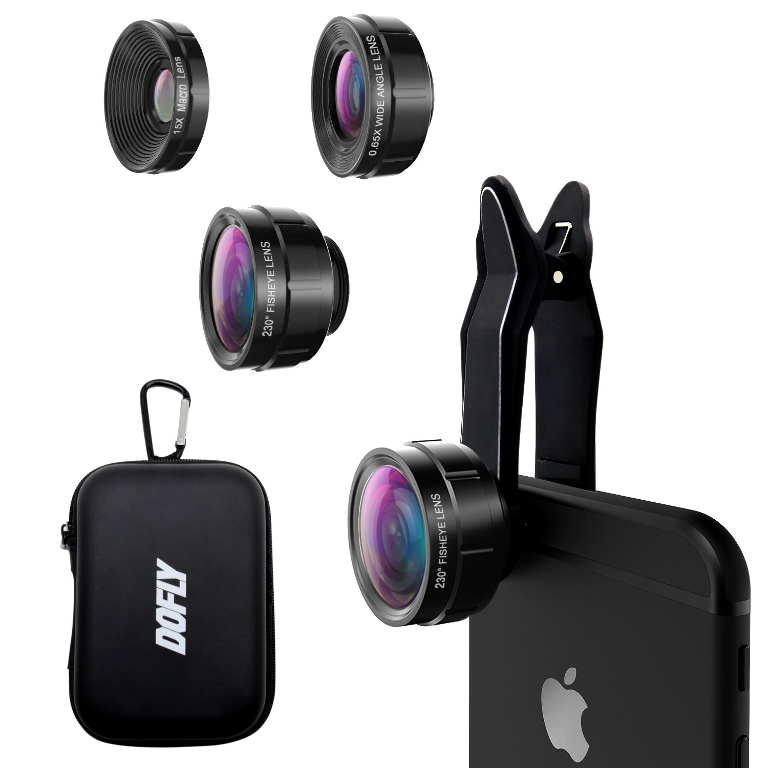 DOFLY Universal Professional HD Camera Lens Kit for iPhone 7 / 6s Plus / 6s / 5s and other devices, Cellphone (230 Degree Fisheye Lens, 0.65x Super Wide Angle Lens, 15x Super Macro Lens) (Black)