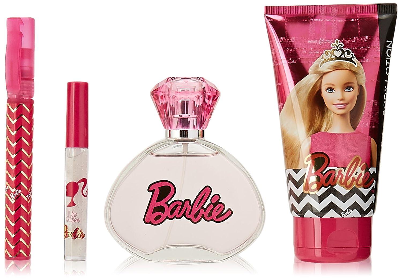 Barbie 4-Piece Eau de Toilette by Mattel, Lip Gloss and Body Lotion Set, 3.4 fl. Oz. P6192