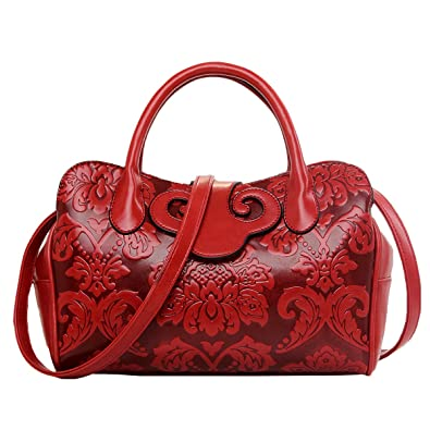c72505becfe Jieway Women s Embossing Classic PU Leather Top-handle Handbag Messenger Bag  Chinese Style