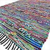Cheap Eyes of India 5 X 8 ft Blue Colorful Chindi Woven Rag Rug Bohemian Boho Decorative Indian