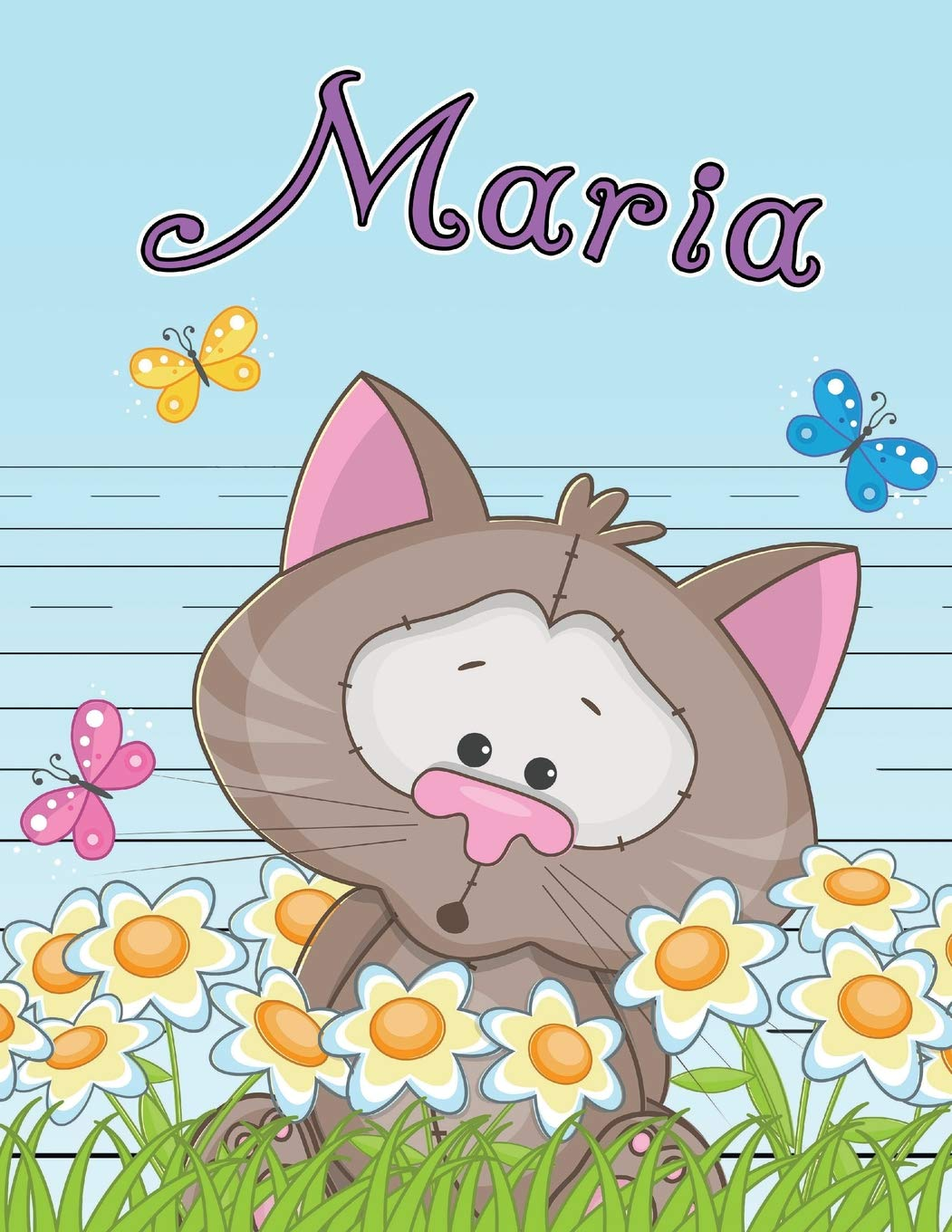 Read Online Maria: Personalized Book with Child's Name, Use as Primary Writing Tablet or School Notebook for Kids Learning to Write, 65 Sheets of Wide-Ruled ... First Graders, Children, Girls, Daughter ebook