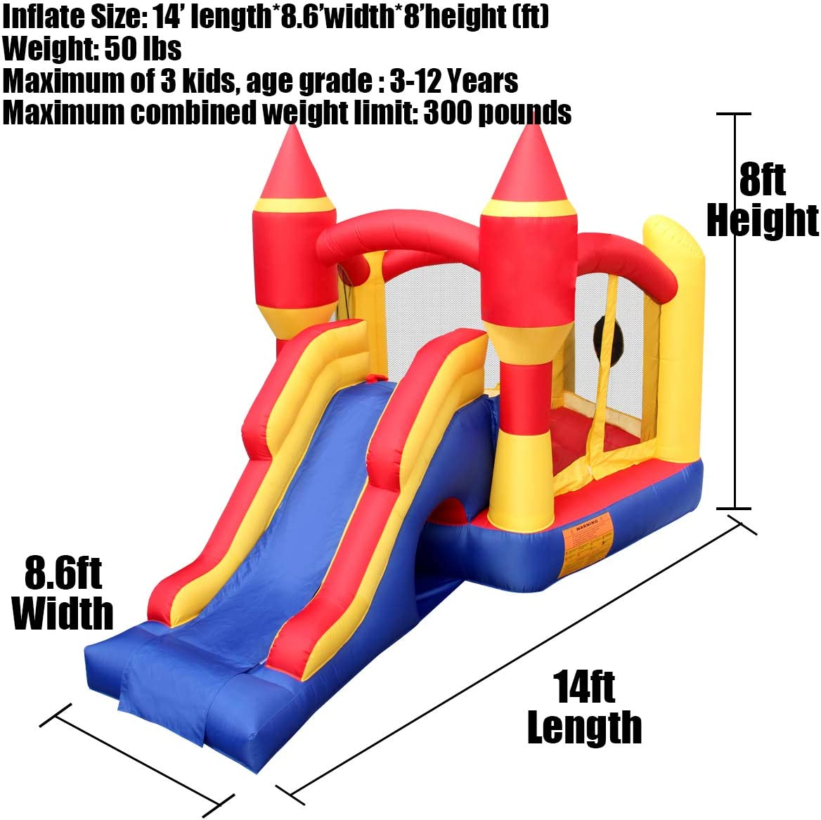 BESTPARTY Inflatable Bounce House Castle Inflatable Kids Jumper Slide Bouncy House with Blower