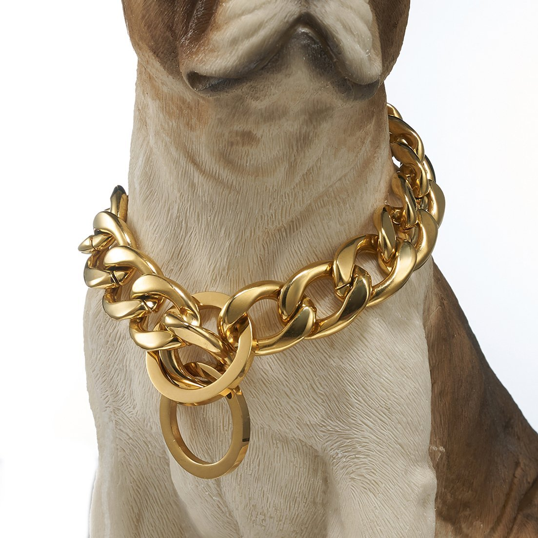 20\ GZMZC 13 15 19mm Strong gold Plated Stainless Steel NK Link Chain Dog Pet Collar Choker Necklace 12-36inch(20inches,19mm)