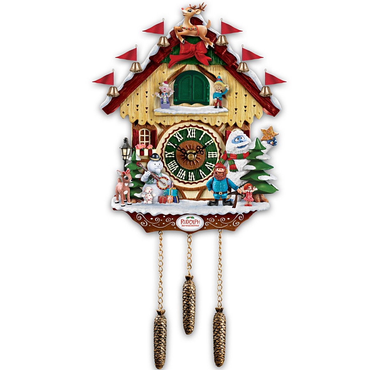 Cuckoo Clock: Rudolph The Red-Nosed Reindeer 50th Anniversary Cuckoo Clock by The Bradford Exchange 01-15530-001
