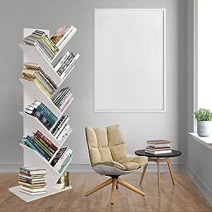 Tree Bookshelf 8-Tier Floor Standing Bookcase Freestanding Bookshelves for CDs Movies & Books (White)