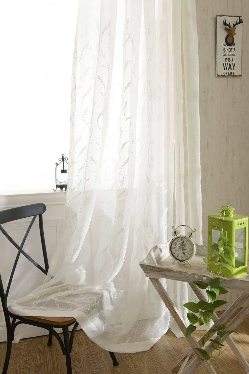 White Rod Pocket Sheer Curtains 96 inches Length Embroidered Window Curtain Sheer Voile Panels for Living Room & Bedroom, 60x96, Two Panels