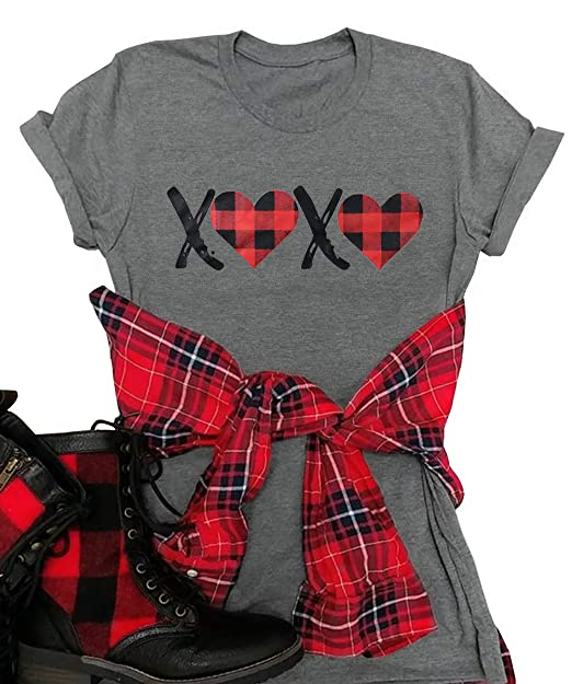 competitive price wide range get cheap XOXO Valentine's Day Shirt Women's Buffalo Plaid Love Graphic Tees  Girlfriend Gift Wife T Shirts