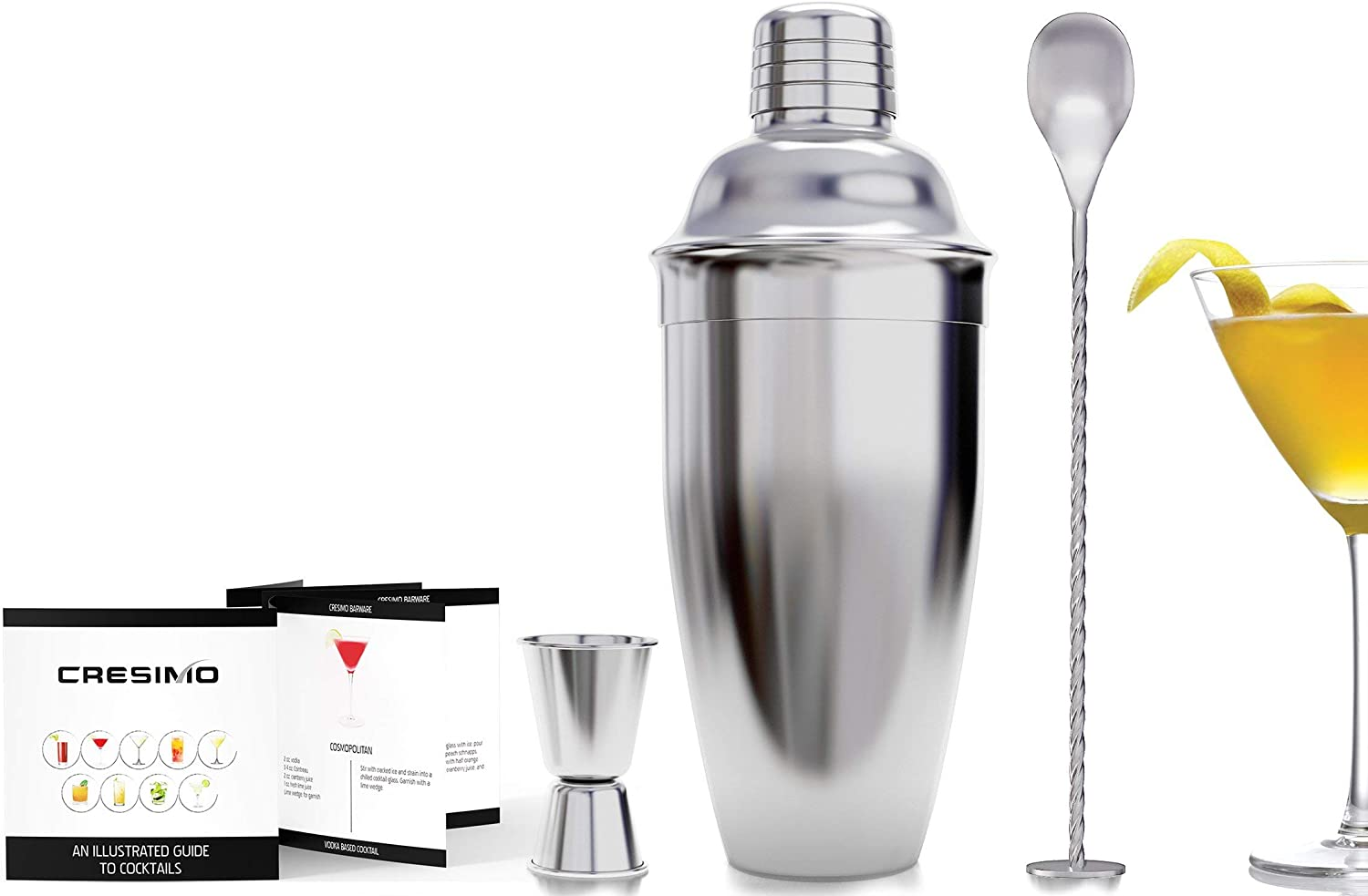 24 Ounce Cocktail Shaker Martini Shaker 18//8 Stainless Steel Bar Tool with Built-in Strainer Bartender Cocktail Shaker by KING VILLA coctelera profesional de acero inoxidable