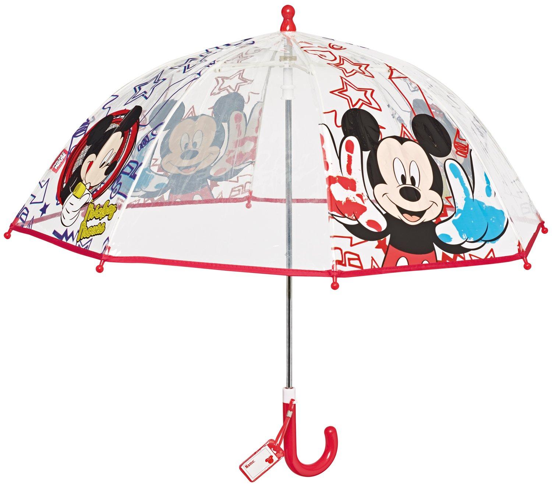 Le Monde du Parapluie - Disney - Mickey Mouse - Parapluie Canne Cloche, 42 cm, Transparent PERLETTI50100MICKEYROUGE