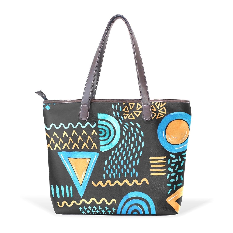 Womens Leather Tote Bag,Cartoon Hand Drawn Graphic Fresh Design,Large Handbag