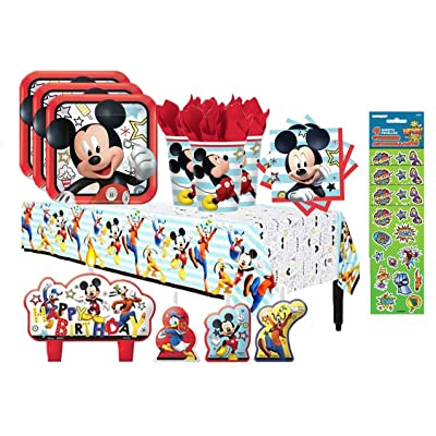 Mickey Mouse On The Go Birthday Party Supply Bundle for 16 with Plates, Napkins, Cups, Tablecover, Candles, and Stickers: Toys & Games