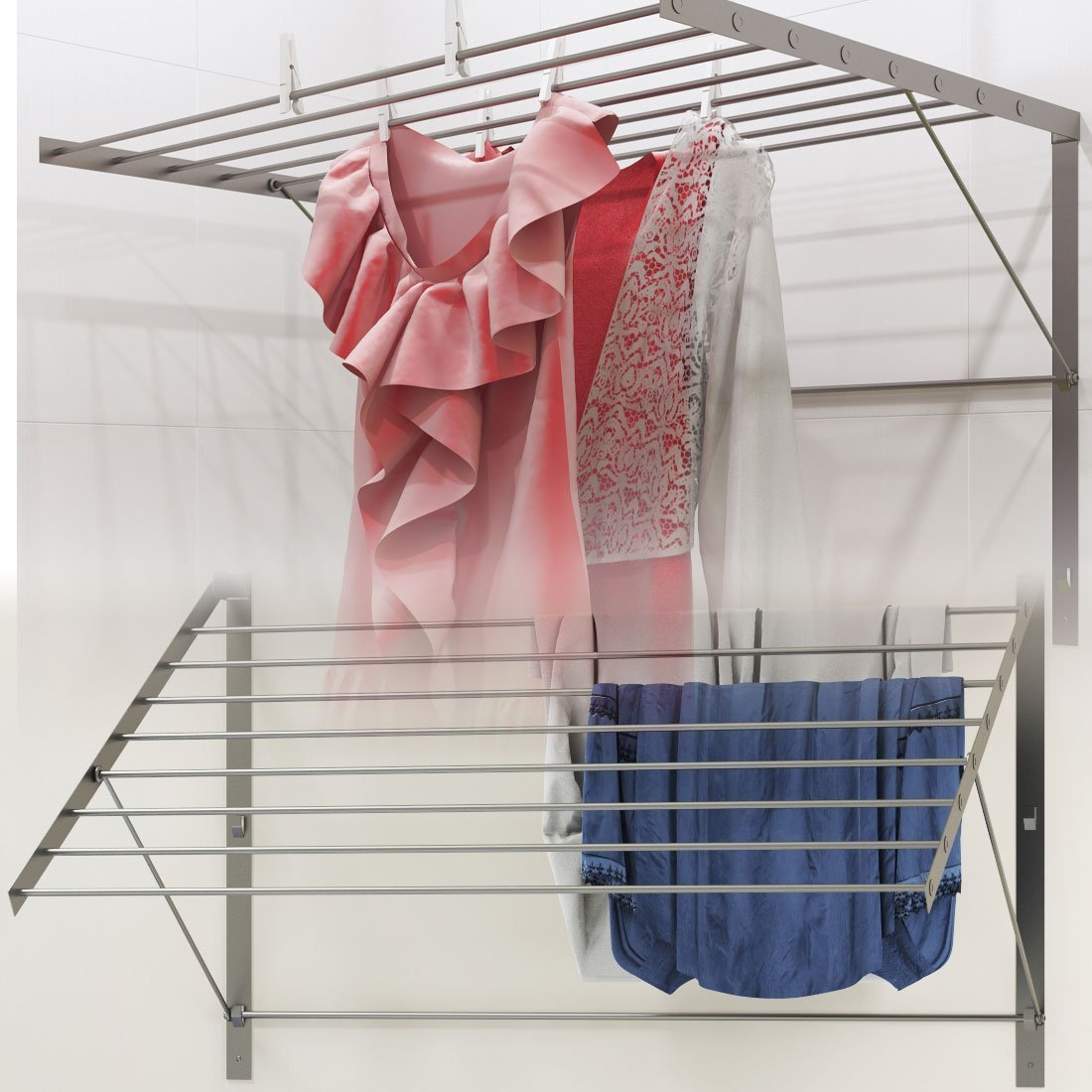 Brightmaison Clothes Drying Rack Stainless Steel Wall Mounted Folding Adjustable Collapsible, 6.5 Yards Drying Capacity BGT