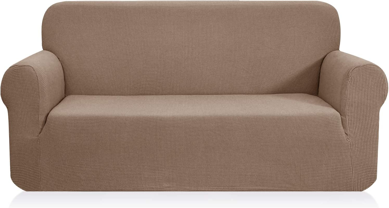 CHUN YI 1-Piece Jacquard High Stretch XL Sofa Slipcover, Polyester and Spandex 4 Seater Cushion Couch Cover Coat Slipcover, Furniture Protector Cover for Sofa and Couch (XL Sofa, Camel)