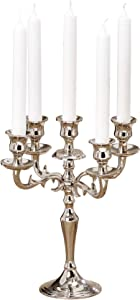 WHW Whole House Worlds Hamptons Five Arm Silver Candelabra, Refined Details, Radiant Polish, Hand Crafted of Silver Aluminum and Brass, 10 1/4 Diameter x 10 1/4 Inches Tall, for Standard Tapers