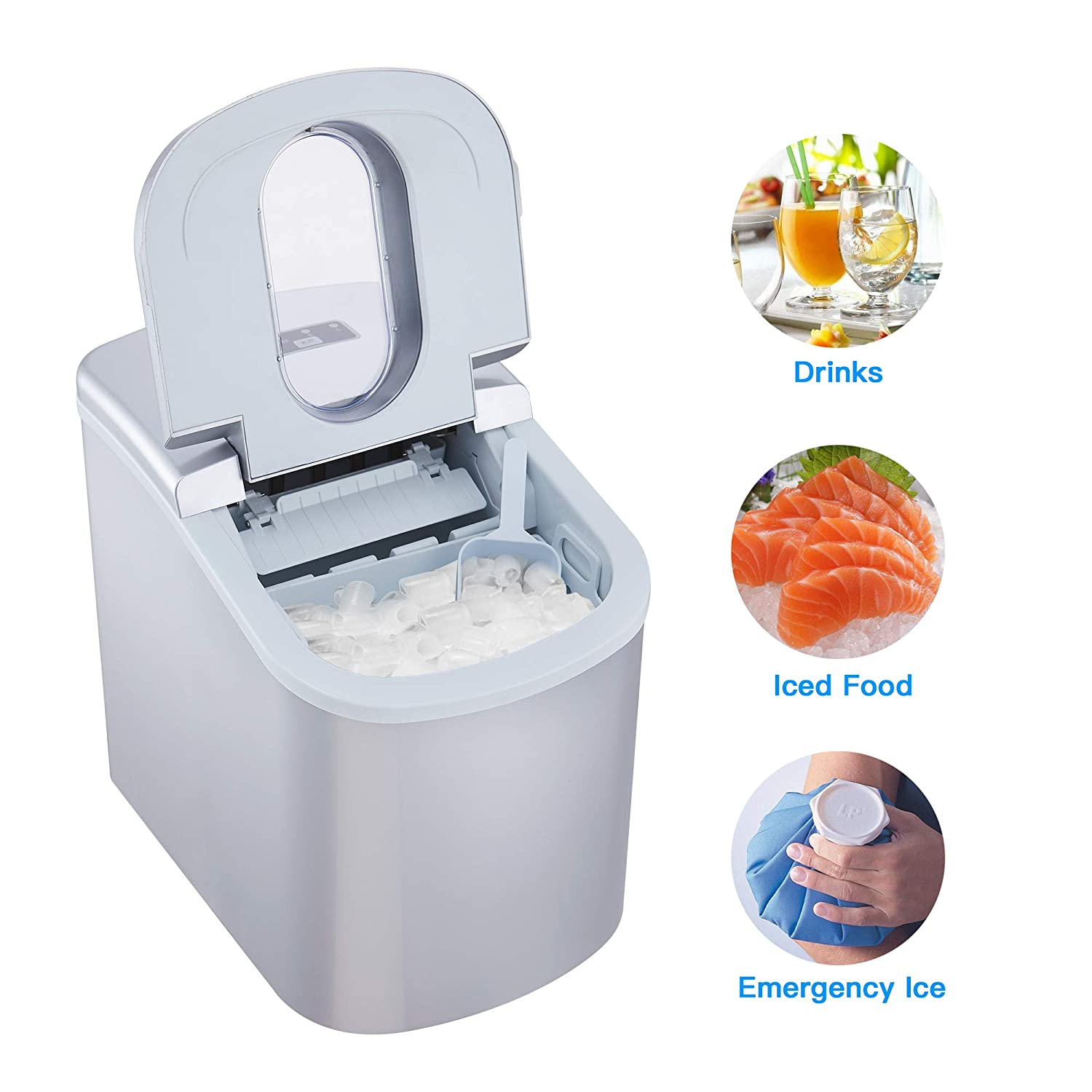 2 Size Options Shaped Ice ready in 8 Minutes 12Kg SILVER Capacity 26Lbs High Efficiency Icemaker Per Day HODIAX Portable Ice Maker Countertop Compact Ice Cube Makers Machine 2.2L 2.3QT