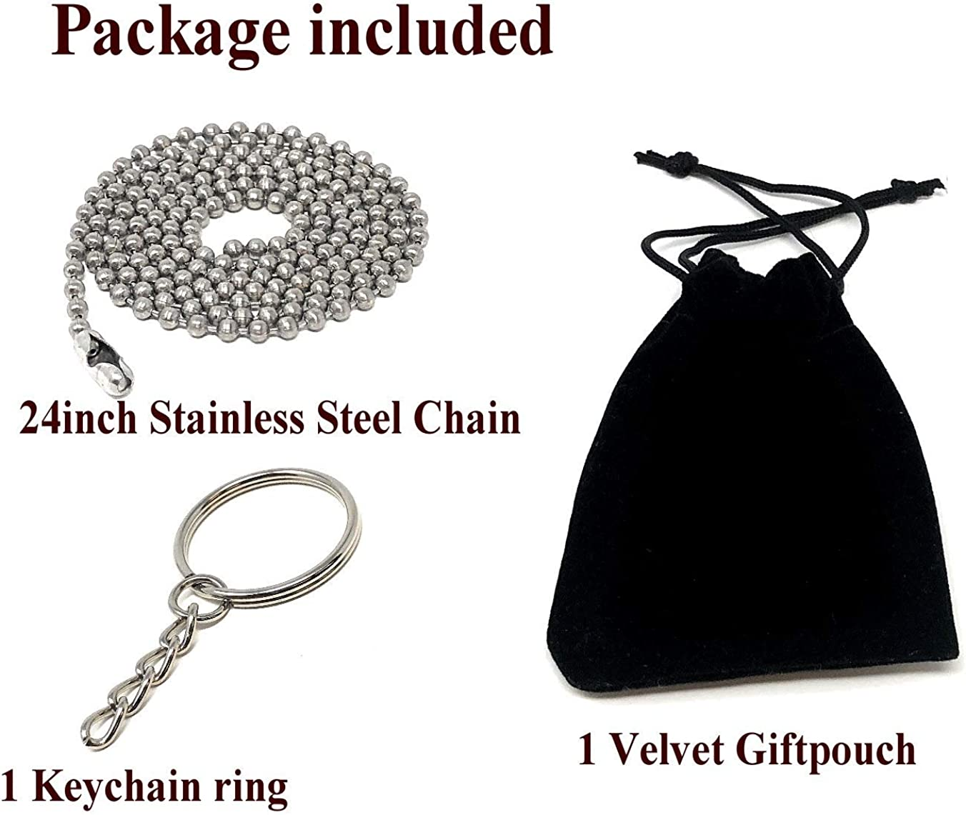 Interway Trading Personalized Heart Custom Photo Polished Color Engraved Dog Tag Necklace Pendant with 24 inch Stainless Steel Chain Velvet Giftpouch and Keyring