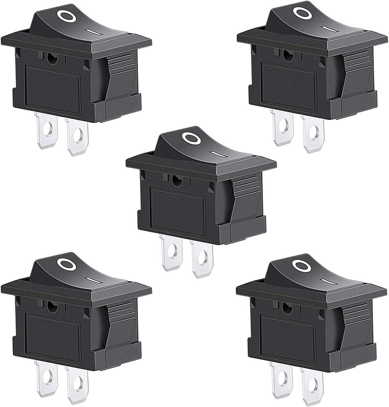 5Pcs 2 Pin Snap-in On//Off Position Snap Boat Rocker Switch 12V//110V//250V OT8G