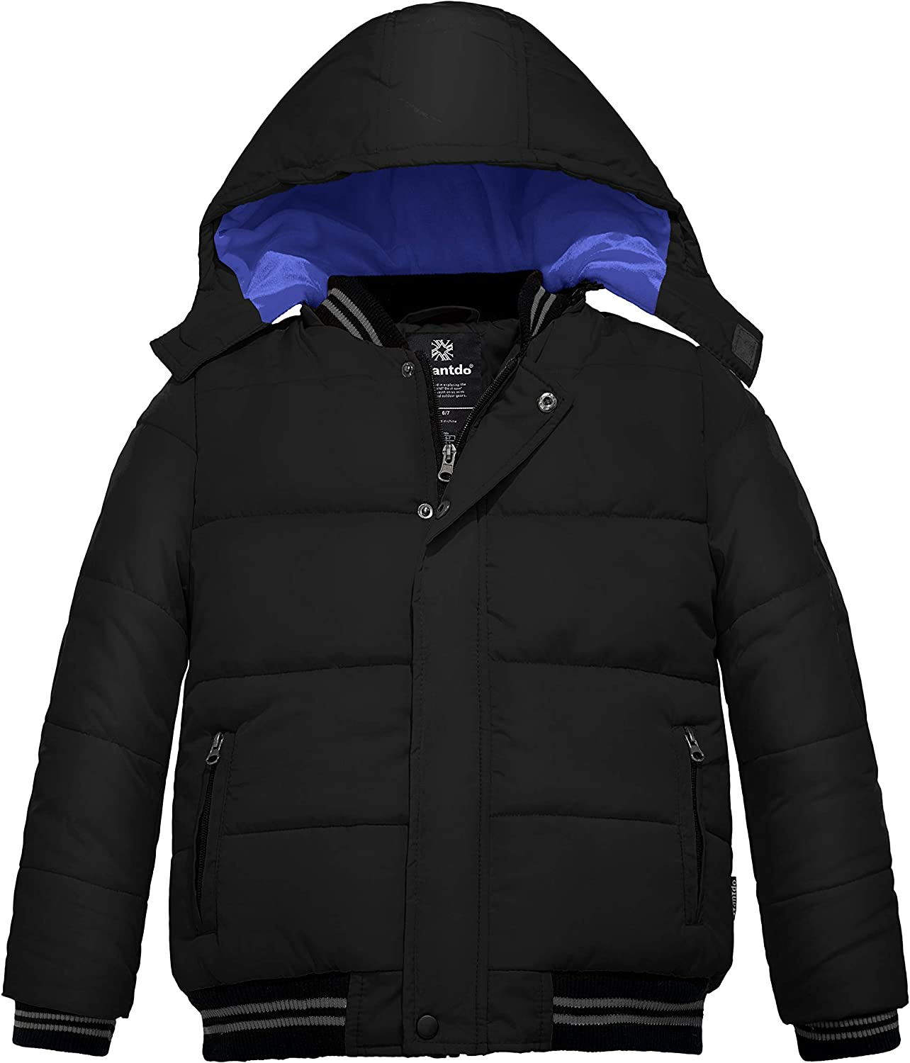 Wantdo Boy's Padded Winter Coat Windproof Puffer Jacket with Removable Hood