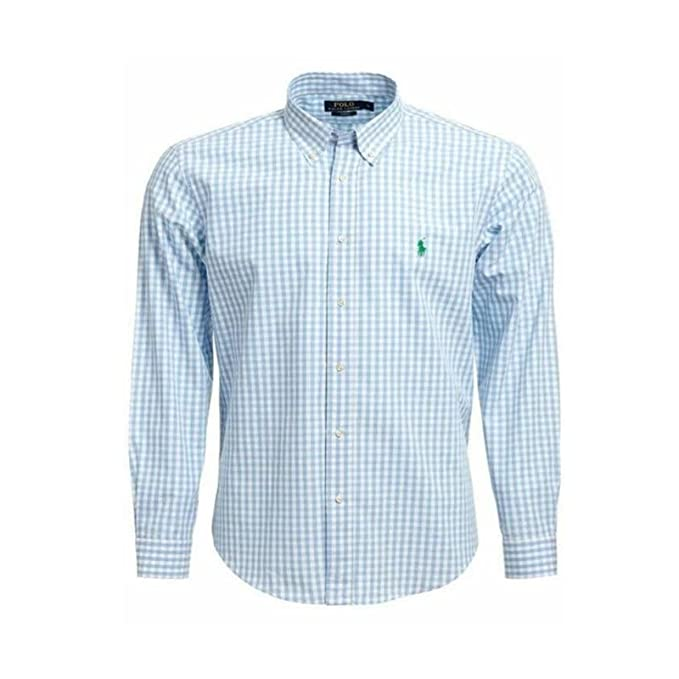 930ba842224236 Ralph Lauren Hemd Herren Hemd Slim Fit Hemd Größe S-XXL (Hellblau-Weiß