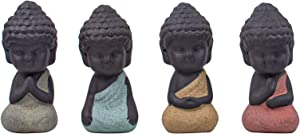 AUEAR, 4 Pack Traditional Cute Small Buddha Statue Monk Figurine India Yoga Mandala Sculptures Outdoor Home Decor