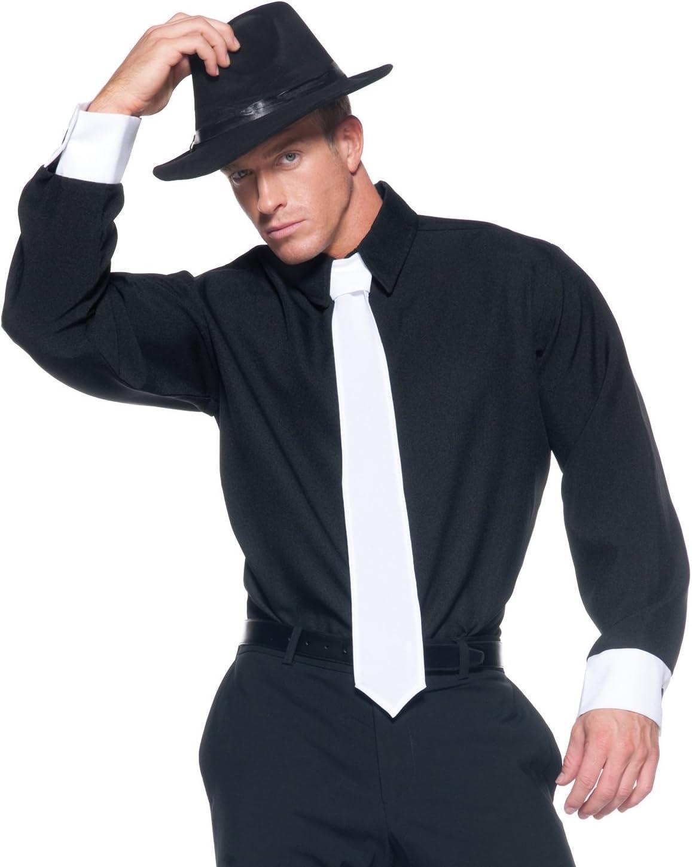 UNDERWRAPS Mobster - Camisa de Disfraz para Hombre, Color Negro ...