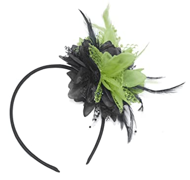 Image Unavailable. Image not available for. Colour  Black and Lime Green  Fascinator on Headband for Ascot Weddings f6bd0889e2e