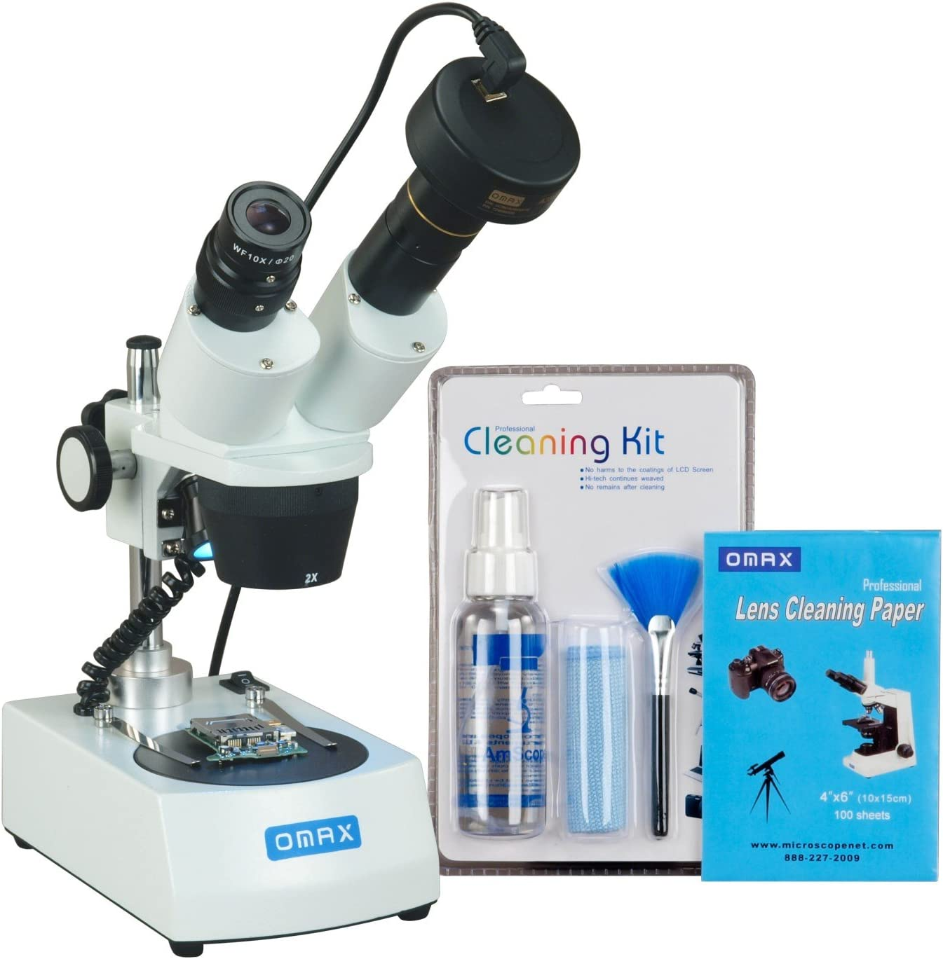 OMAX 20X-40X-80X Cordless Stereo Binocular Microscope with LED Lights and 5MP Camera and Cleaning Pack