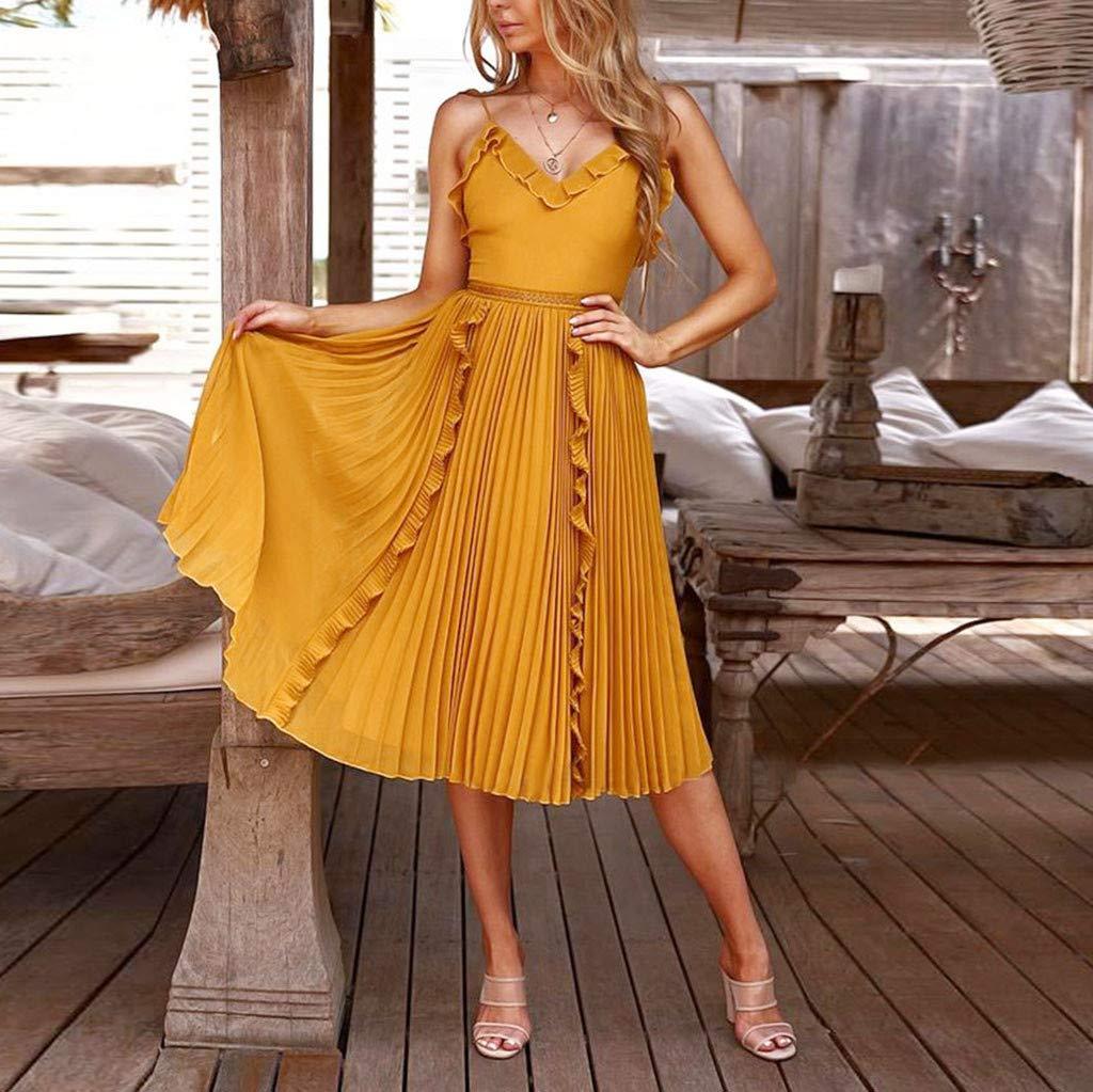 Ultramall Dresses for Women Party Wedding Knee Length Off-Shoulder Ruffles Sleeveless Mini Princess Dress(Yellow,L) by Ultramall (Image #2)