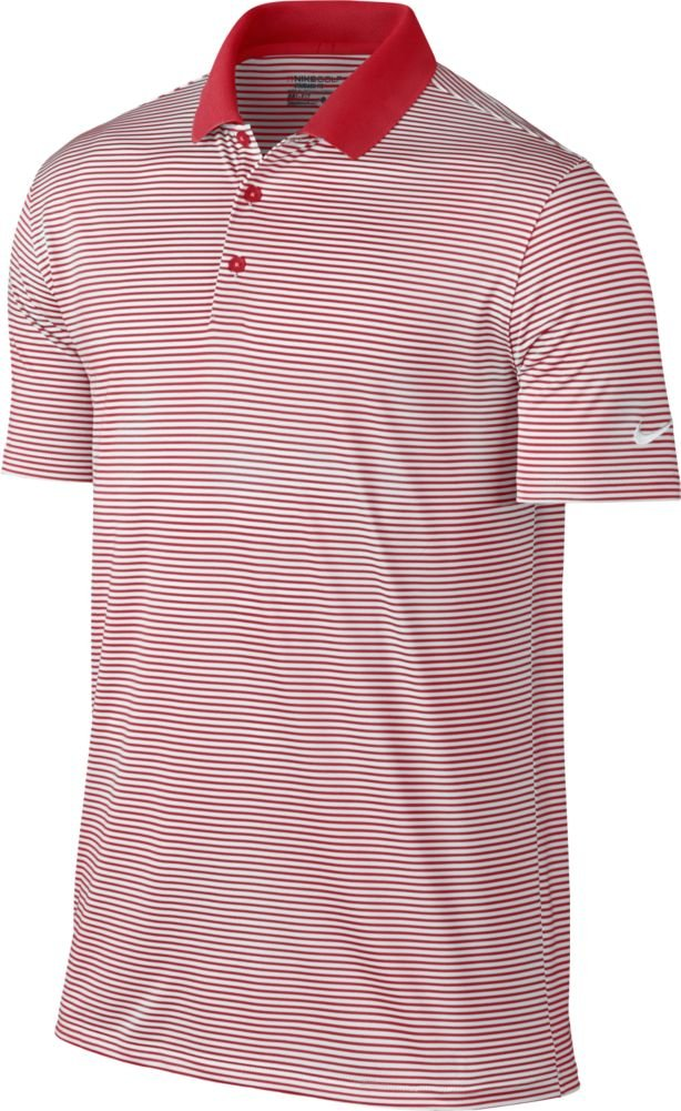 NIKE Men's Dry Victory Stripe Polo, University Red/White, Small