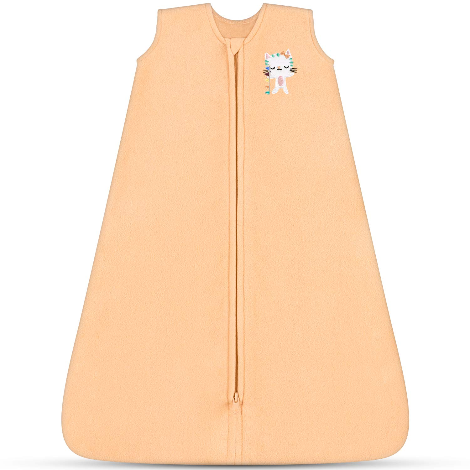 TILLYOU Micro-Fleece Baby Sleep Bag and Sack with Inverted Zipper, Fits Infants Babies Ages 0-6 Months, Sleeveless Warm and Soft Wearable Blanket TOG 1, Small S, Orange Cat