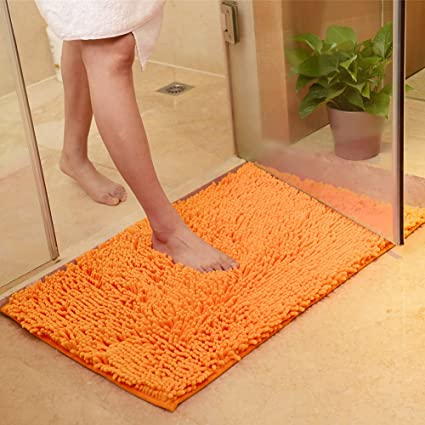 amazon com maxyoyo orange bath rugs bathroom mats and rugs non slip rh amazon com