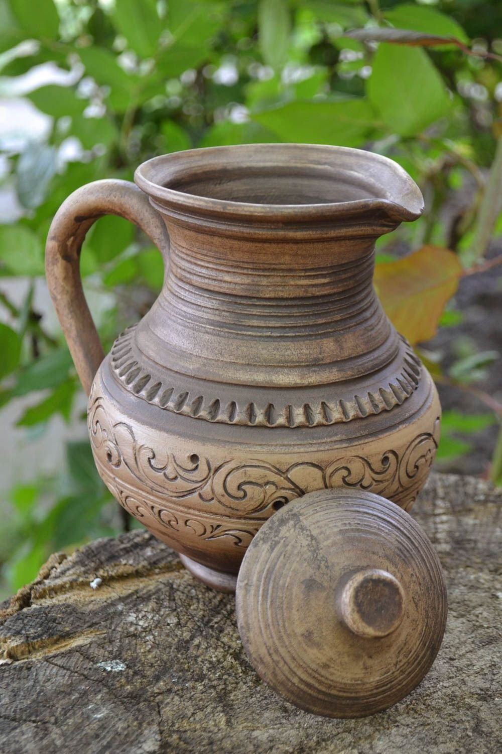 Clay Pitcher With Lid 750 Ml Beautiful Brown Handmade Kitchen Pottery For Home
