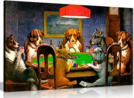 Pokers perros jugando tarjetas C. M. Coolidge lienzo pared Art ...