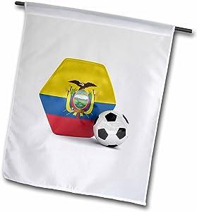 3dRose fl_181899_1 Ecuador Soccer Ball Garden Flag, 12 by 18-Inch