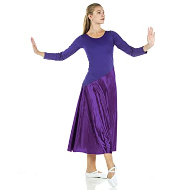 e0d391c582326 Danzcue Womens Bi Color Long Sleeve Worship Dance Dress (S/M, Deep Purple