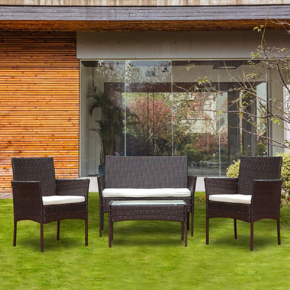 HomeSailing 4 Pcs Brown Garden Patio Rattan Wicker Dining Furniture Set for Bistro Porch Conversation Including Armchairs, 2 Seater Sofa with Cushion, Glass Coffee Table by HomeSailing