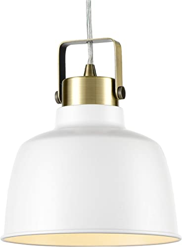 Light Society Mercer Mini Pendant Light, Matte White Shade with Brushed Brass Finish, Modern Industrial Farmhouse Lighting Fixture LS-C169-WHI